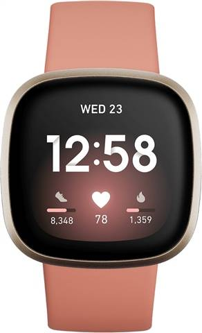 Refurbished: Fitbit Versa 3 Health & Fitness Smartwatch - Pink Clay / Soft Gold, A