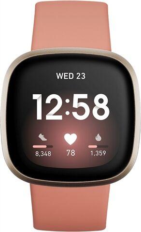 Refurbished: Fitbit Versa 3 Health & Fitness Smartwatch - Pink Clay / Soft Gold, B