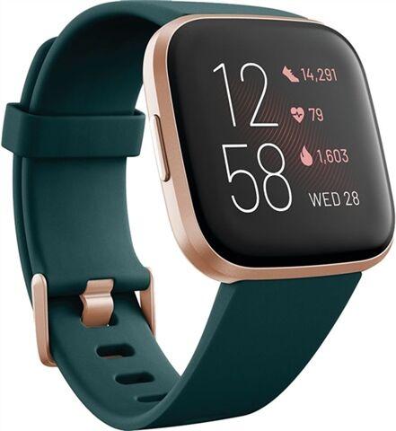 Refurbished: Fitbit Versa 2 Fitness Smartwatch - Emerald /Copper Rose, B