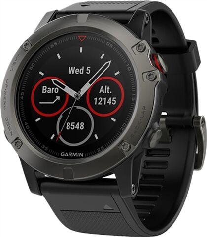 Refurbished: Garmin Fenix 5X Sapphire 51MM Smartwatch - Slate Grey/Red, B