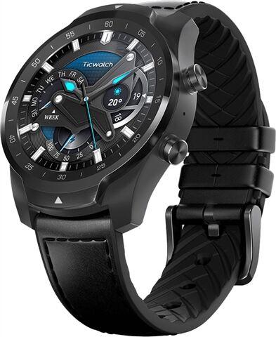 Refurbished: Ticwatch Pro 2020 WF12106 Smartwatch - Shadow Black/Black Leather Strap, B