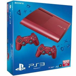 PS3 Super Slim Console, 500GB, Red, +2Pads Boxed
