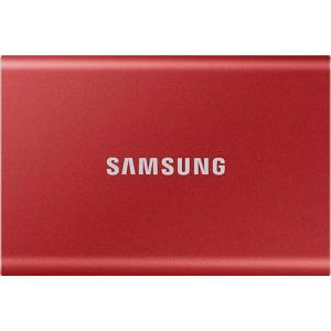 Refurbished: Samsung T7 Touch Portable SSD 2TB USB-C - Metallic Red