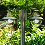 hofstein Brilliant Artu outdoor floor lamp black, gold, 2-light sources - cottage - outdoors - Expected delivery time: 6-10 working days