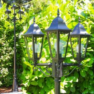 hofstein Hongkong lamppost black, transparent, clear, 3-light sources - cottage, antique - outdoors - Ships within: 6-10 Business days