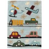 RugVista Cars Handtufted Rug 170X240 Wool Light Grey/Light Blue
