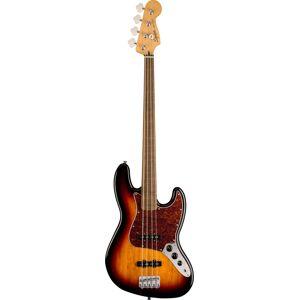 Squier Classic Vibe 60s Fretless Jazz Bass 3 Tone Sunburst Indian Laurel Fingerboard