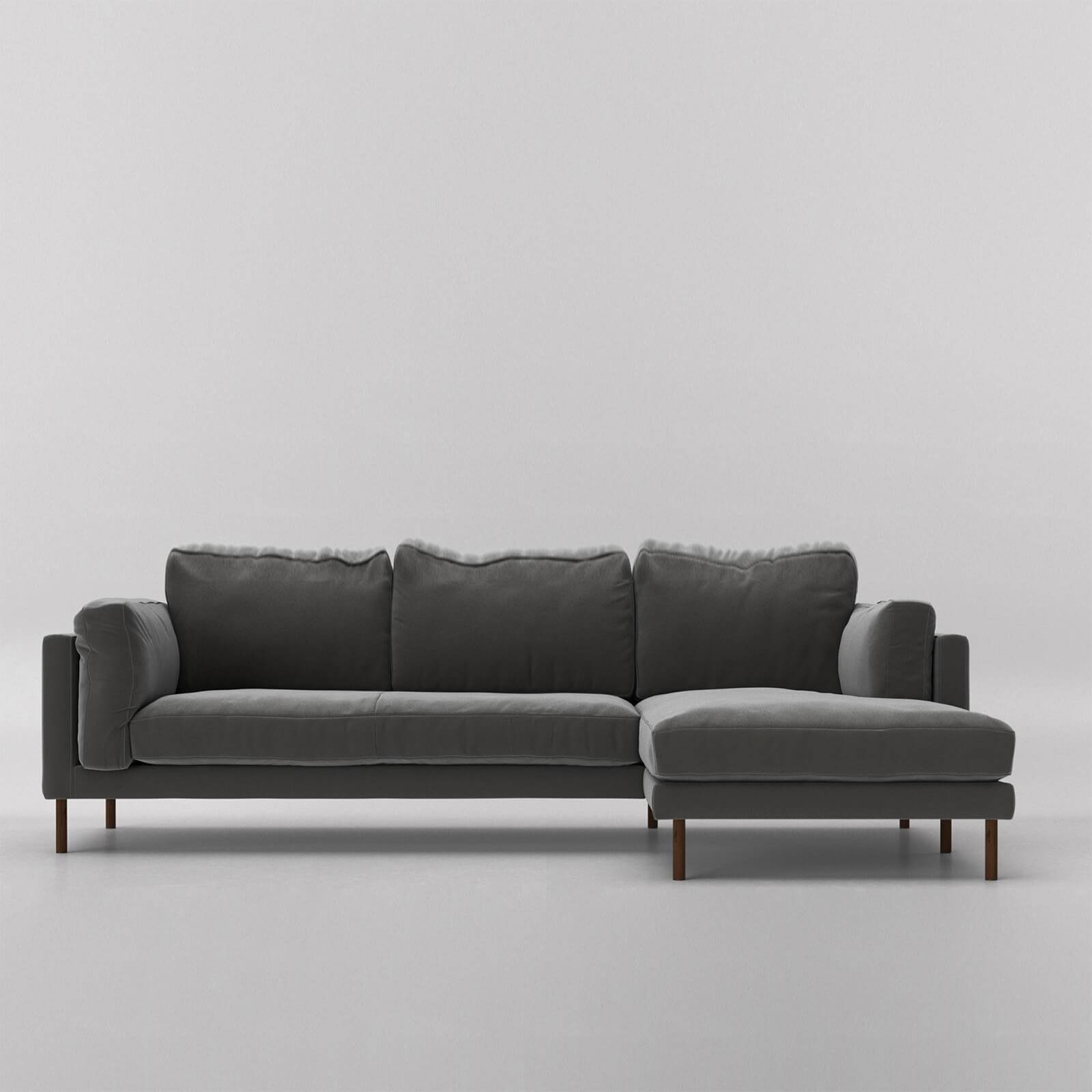 Swoon Munich Velvet Corner Sofa - Right Hand Side - Corner Sofa - Granite