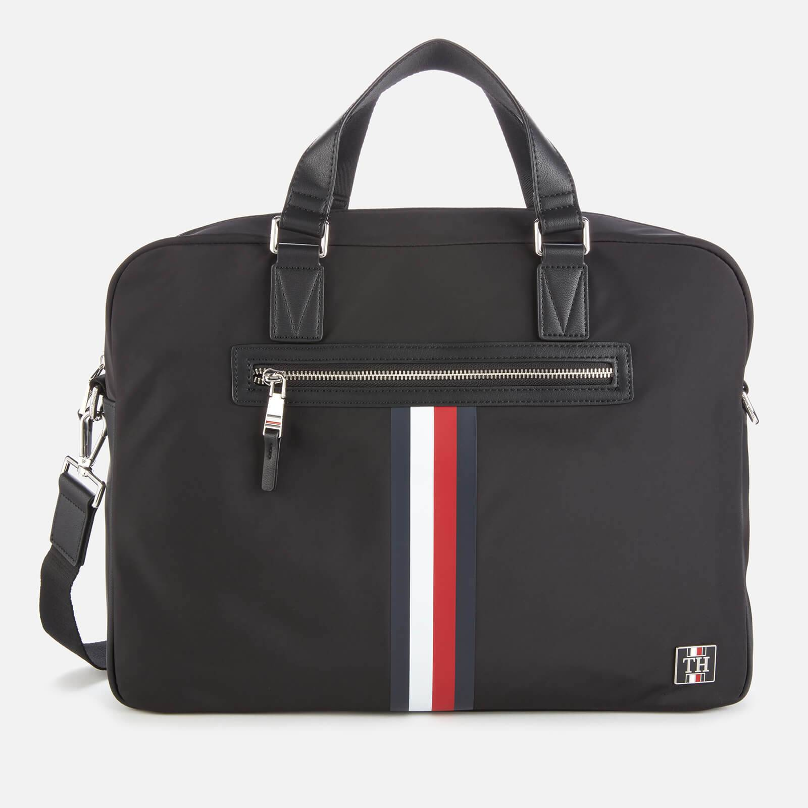 Tommy Hilfiger Men's Clean Nylon Computer Bag - Black