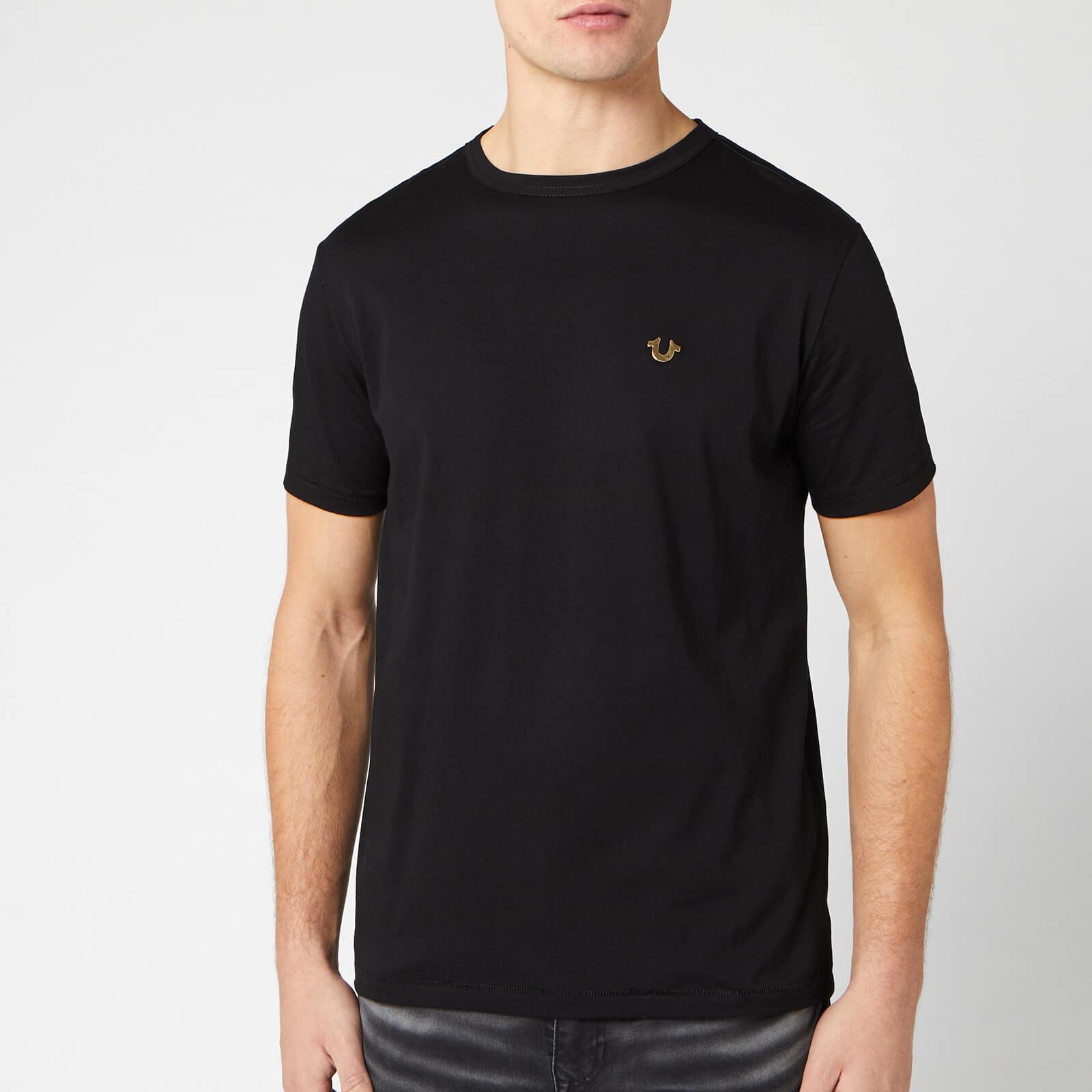 True Religion Men's Metal Horseshoe Crew T-Shirt - Black - M