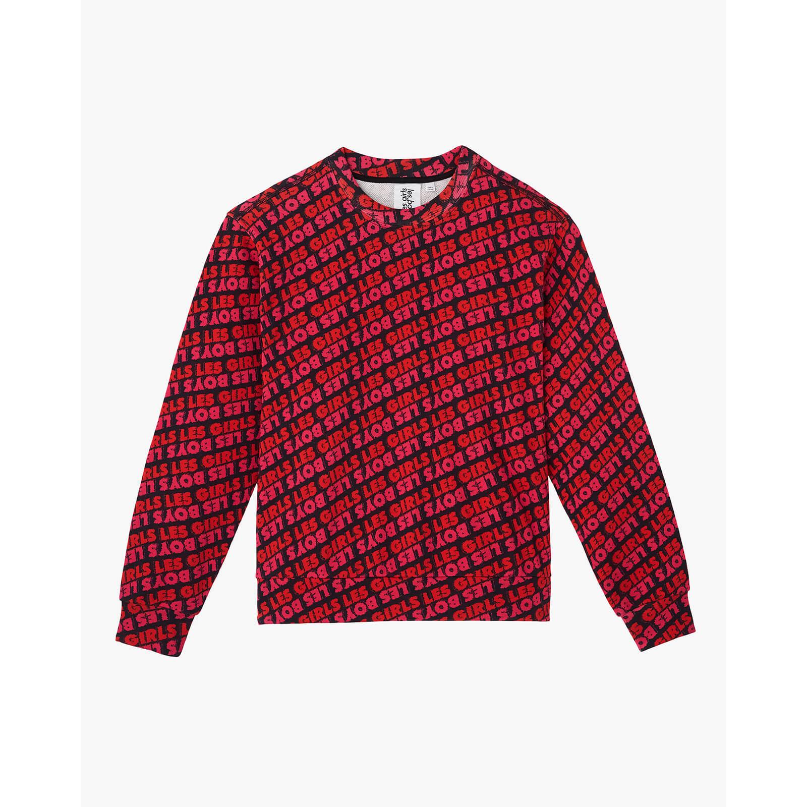 Les Girls Les Boys Women's Fuzzy Print Crew Neck Sweatshirt - Red - XS