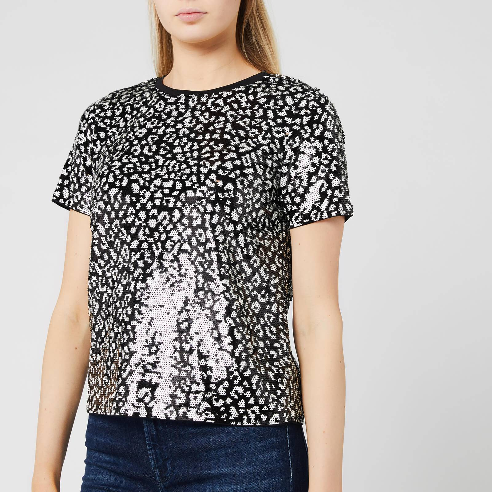 MICHAEL MICHAEL KORS Women's Lux Cat Sequin Baby T-Shirt - Black/Bone - S