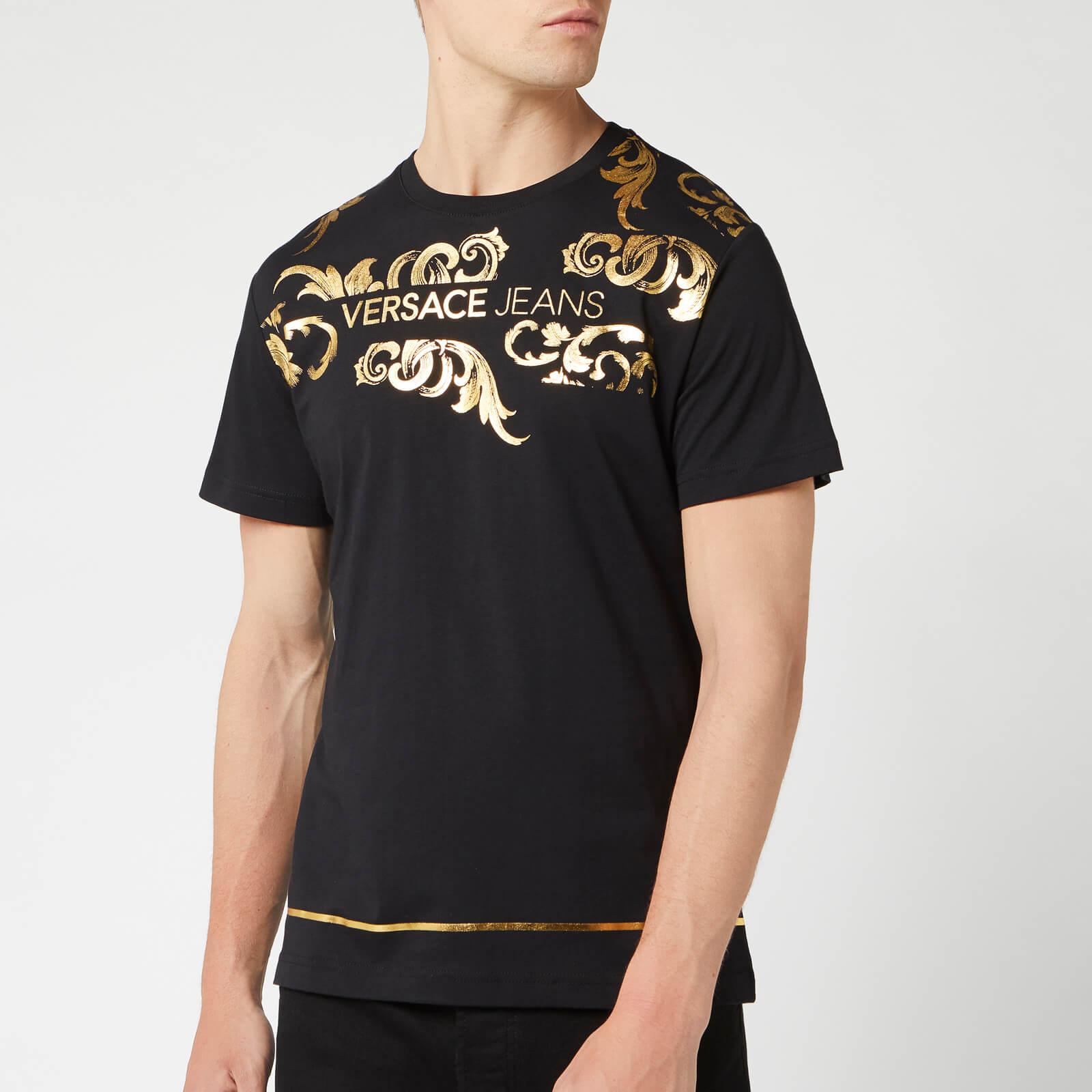 Versace Jeans Men's Collar Print T-Shirt - Black - XXL - Black