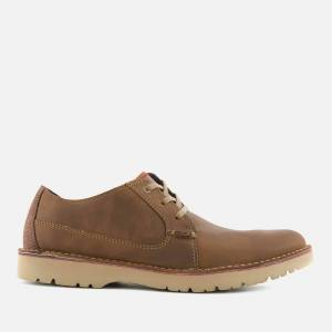 Clarks Men's Vargo Plain Leather Derby Shoes - Dark Tan - UK 10