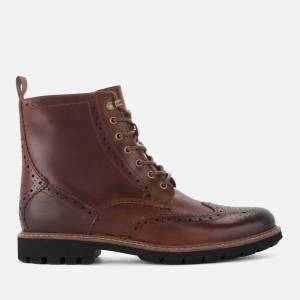 Clarks Men's Batcombe Lord Leather Brogue Lace Up Boots - Dark Tan - UK 9