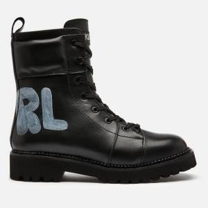 Karl Lagerfeld Women's Kadet Ii Hi Leather Lace Up Boots - Black - UK 5