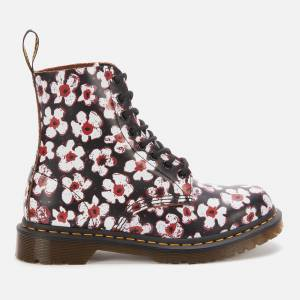 Dr. Martens Women's 1460 Smooth Leather Pascal Boots - Black/Red Pansy - UK 6