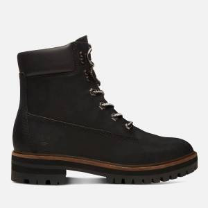 Timberland Women's London Square 6 Inch Leather Lace Up Boots - Jet Black - UK 8 - Black