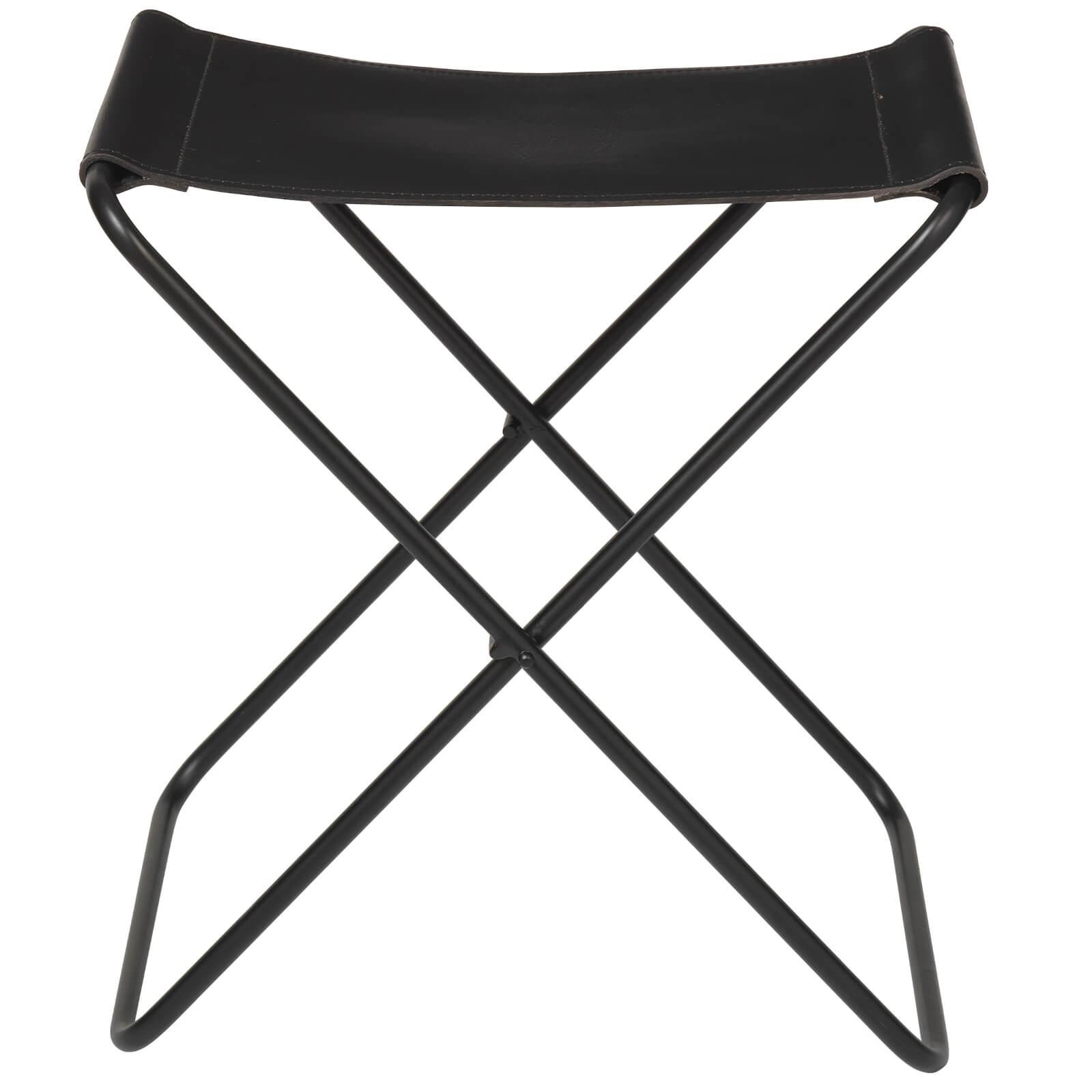 Broste Copenhagen Nola Leather Stool - Black