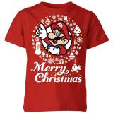Nintendo Super Mario Merry Christmas White Wreath Kid's T-Shirt - Red - 7-8 Years - Red