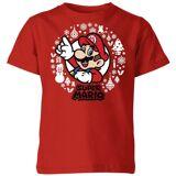 Nintendo Super Mario White Wreath Kid's Christmas T-Shirt - Red - 7-8 Years - Red