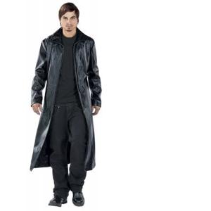 Tribal Coat  Imitation Leather Coat black  - black - Size: Large