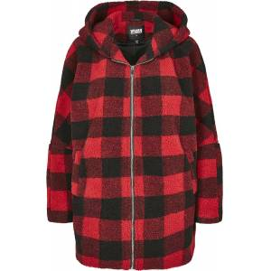 Urban Classics Ladies Hooded Oversized Check Sherpa Jacket Winter Jacket red black  - red - Size: Large
