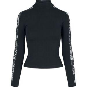 Urban Classics Ladies Lace Striped Longsleeve Long-sleeve Shirt black  - black - Size: Extra Large