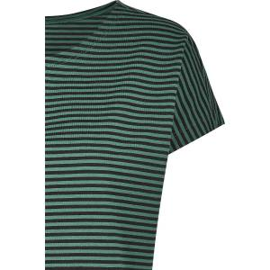 Urban Classics Ladies Yarn Dyed Baby Stripe Tee T-Shirt green black  - green - Size: 4X-Large