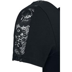 Urban Classics Ladies Lace Shoulder Striped Tee T-Shirt black  - black - Size: Extra Small