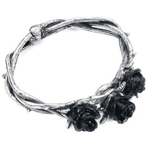 Alchemy Gothic Wild Black Rose Bracelet silver coloured  - silver - Size: Medium