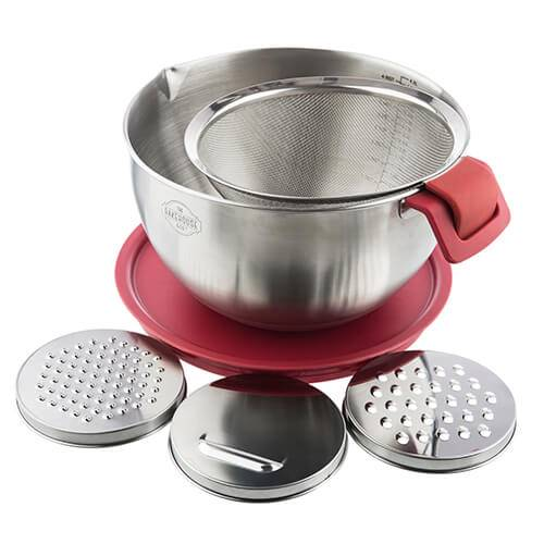 Bakehouse & Co. Bakehouse & Co Stainless Steel Multi Use Mixing Bowl With Sieve and 3 Grating Attachments