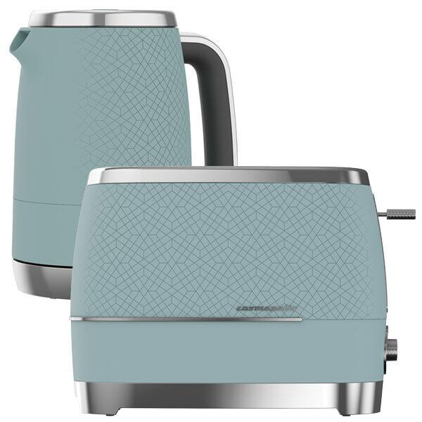 Beko Duck Egg Blue & Chrome Cosmopolis Kettle And Toaster Set