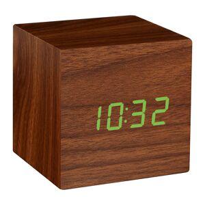 Gingko - Cube Click Clock - Walnut / Green LED