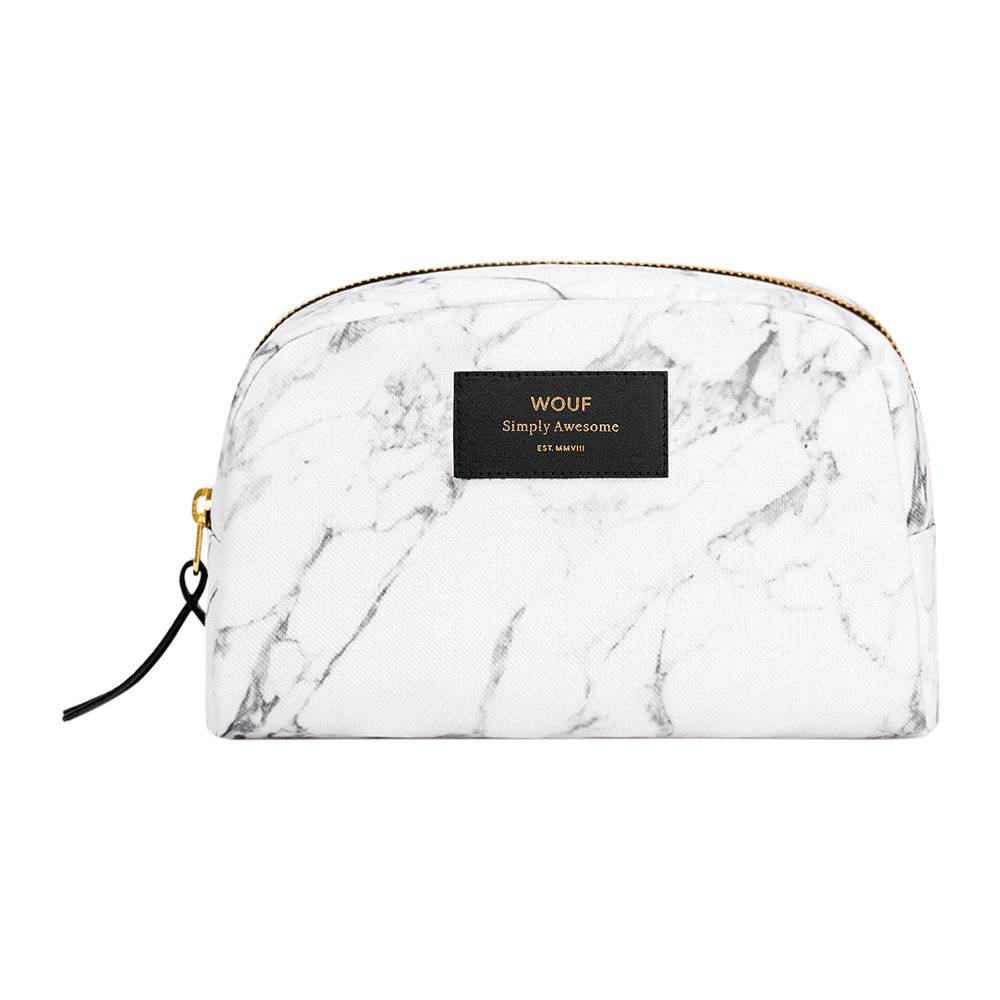 Wouf - Marble Cosmetic Bag - White - Large