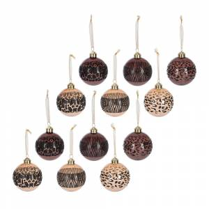 A by AMARA Christmas - Animal Print Stripe Bauble - Set of 12 - Camel/Brown