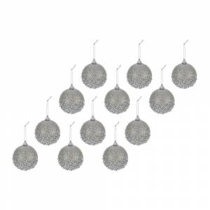 A by AMARA Christmas - Bead Encrusted Bauble - Set of 12 - Misty Grey