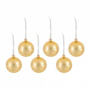 A by AMARA Christmas - Glitter Decorative Snowflake Bauble - Set of 6 - Light Gold