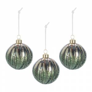 A by AMARA Christmas - Antique Finish Bauble - Set of 3 - Green