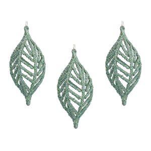 Gisela Graham - Beaded Olive Tree Decoration - Set of 3 - Pale Green
