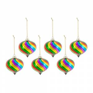 A by AMARA Christmas - Multicolored Glass Onion Bauble - Set of 6