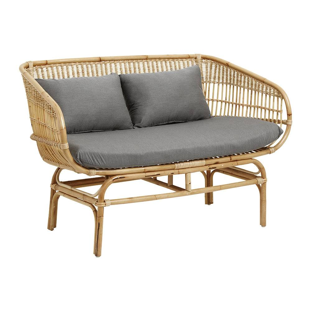 Nordal - Rattan Sofa with Seat Pads - Grey/Natural