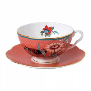 Wedgwood - Paeonia Teacup & Saucer - Coral