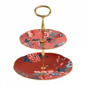 Wedgwood - Paeonia Two Tier Cake Stand - Coral/Red