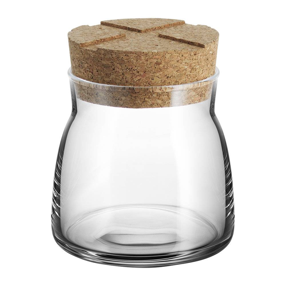 Kosta Boda - Bruk Clear Jar with Cork Lid - Clear - Small
