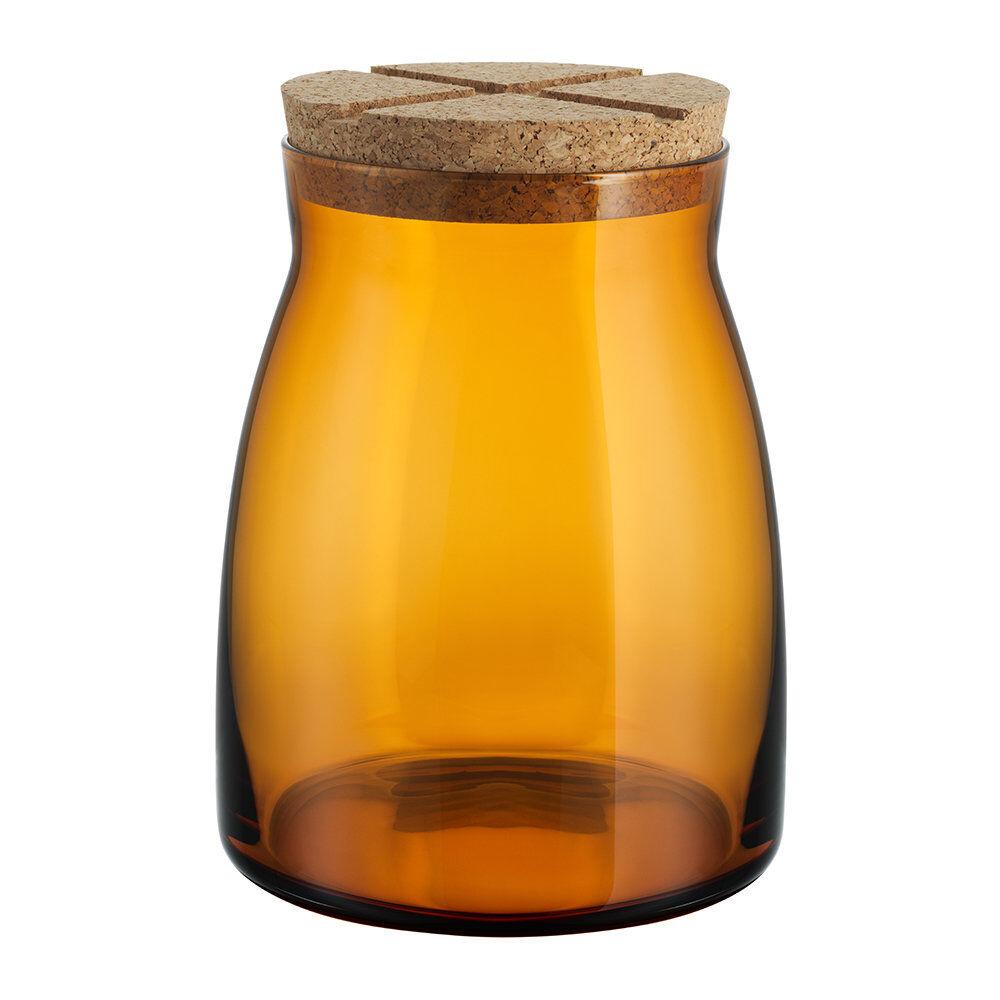 Kosta Boda - Bruk Clear Jar with Cork Lid - Amber - Large