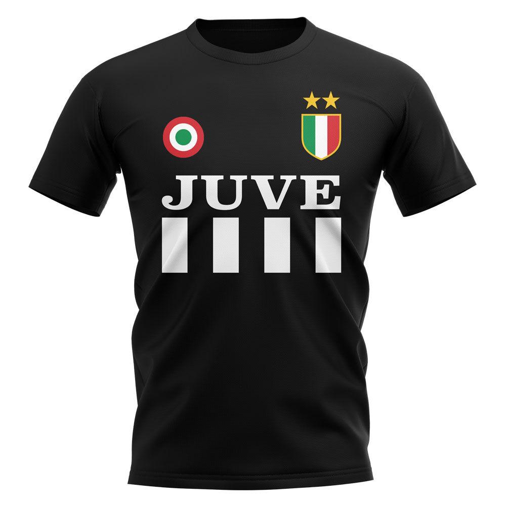 UKSoccershop Juventus Vintage Football T-Shirt (Black)