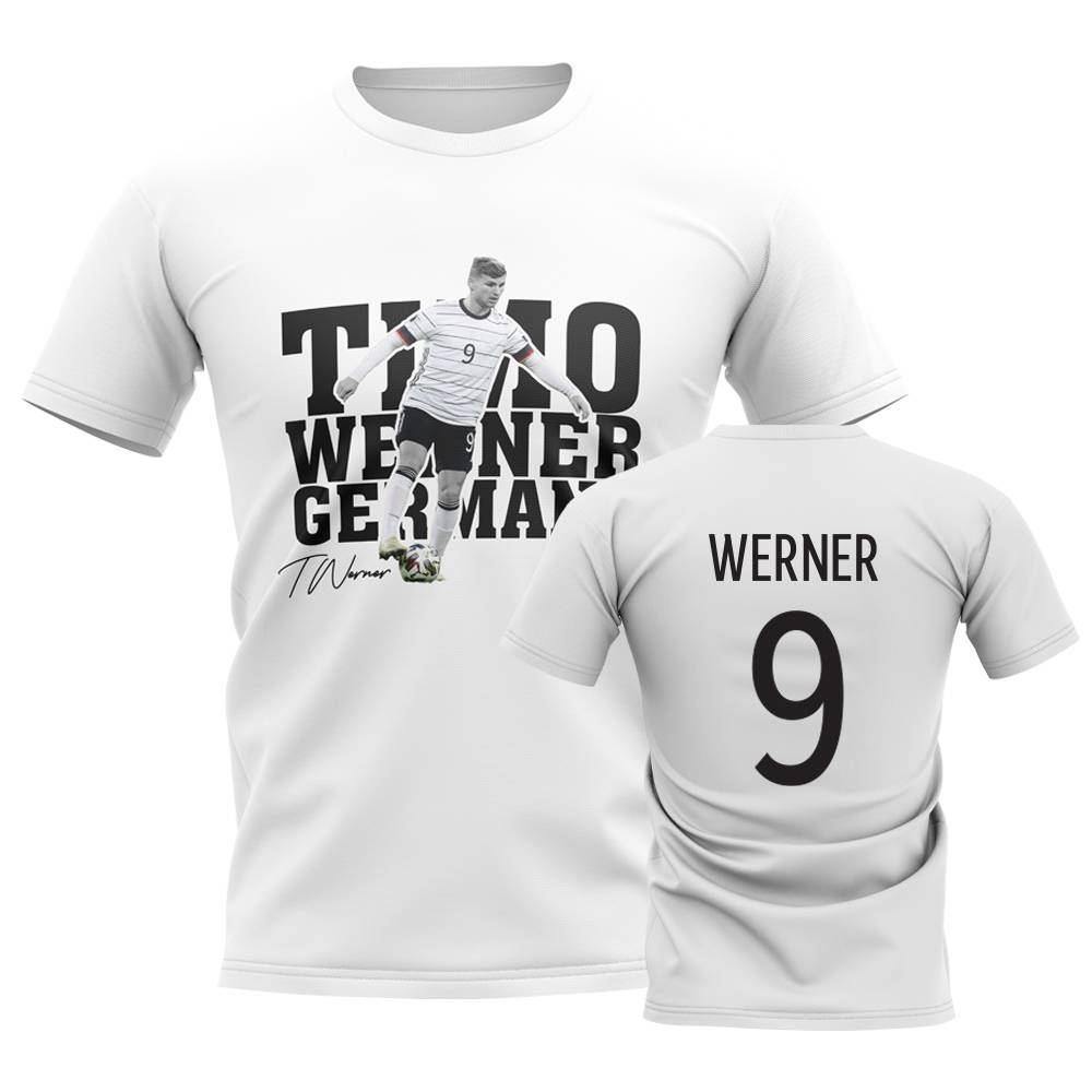 UKSoccershop Timo Werner Germany Player Tee (White) - White - male - Size: XSB (3-4 Years)