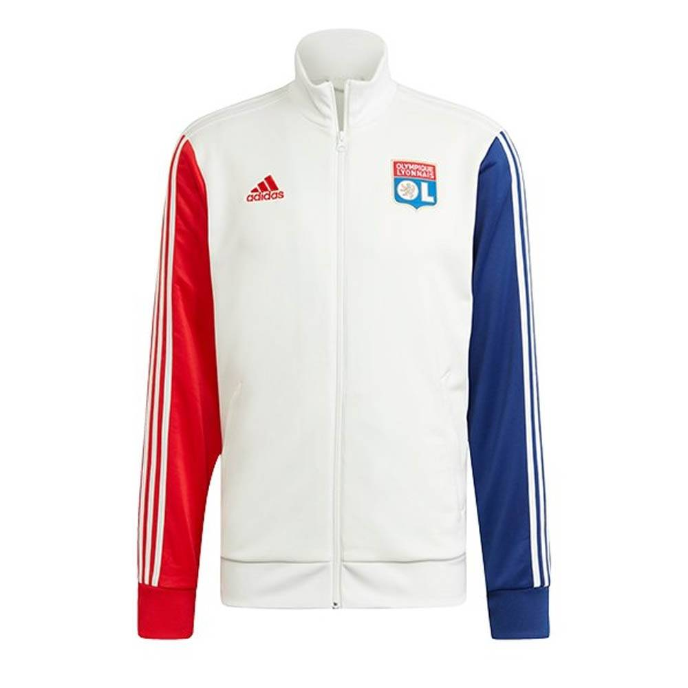 """adidas 2021-2022 Olympique Lyon 3S Track Top (White) - White - male - Size: Large 42-44\"""" Chest"""