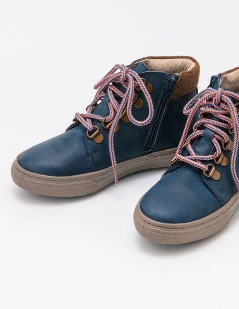 Mini Leather Lace Up Boots Blue Boys Boden  - Male - Blue - Size: 28